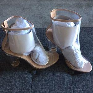 Clear PVC heel boot w/ nude trim size 8